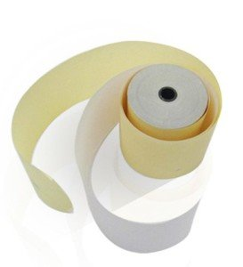 75 x 60 mm 2-ply Carbonless Paper Roll WhiteCanary