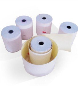 75 x 60 mm 3-ply Carbonless Paper Rolls WhitePinkCanary